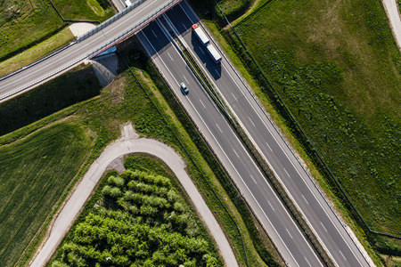 travel industry: aerial view of highway in Poland Stock Photo