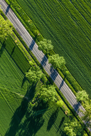 travel industry: aerial view of harvest fields in Poland