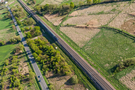 boxcar train: aerial view of railway  in Poland Stock Photo