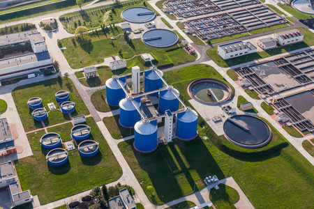 recycling plant: aerial view of sewage treatment plant in wroclaw city in Poland