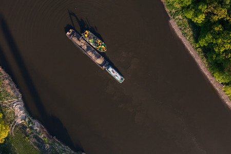 bird s eye: aerial view of a river barge in wroclaw city in Poland