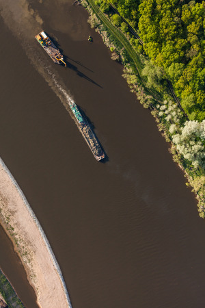 bird 's eye view: aerial view of a river barge in wroclaw city in Poland