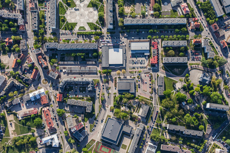 house top: aerial view of Olesnica city in Poland Stock Photo