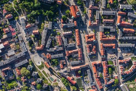 Vista aérea de la ciudad de Olesnica en Polonia Foto de archivo - 41049324