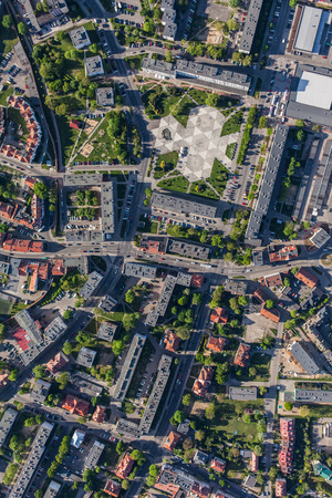city living: aerial view of Olesnica city in Poland Stock Photo