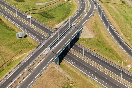 country highway: aerial view of highway in Poland Stock Photo