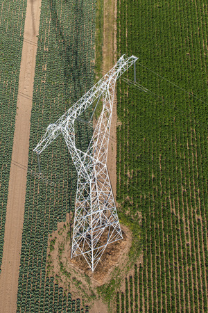 insulators: Aerial view of electrical wires large scale power energy tower in Poland Stock Photo