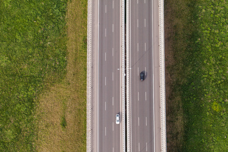 aerial view of highway in Poland 스톡 콘텐츠