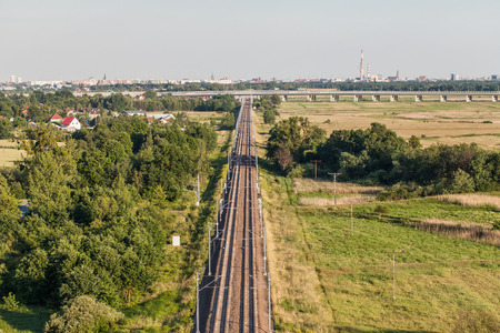 boxcar train: aerial view of the railway near wroclaw city in Poland Stock Photo