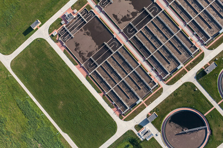 construction plant: aerial view of sewage treatment plant in wroclaw city in Poland