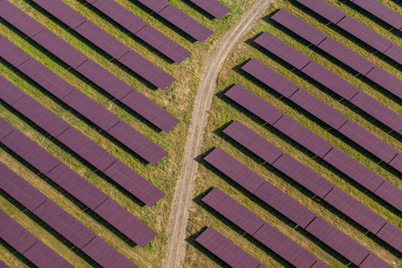 aerial view: Aerial view of solar power plant in germany