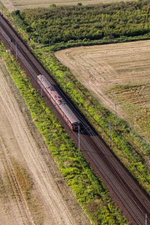 boxcar train: aerial view of the train and railway track in Poland Stock Photo