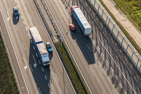 country highway: aerial view of the highway near Wroclaw city  in Poland