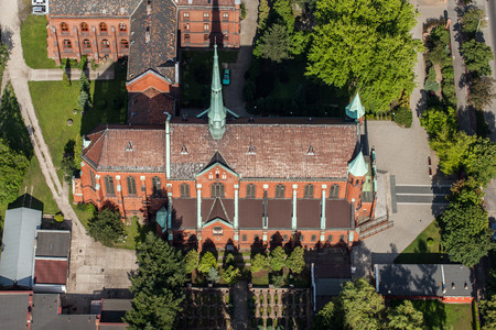 wroclaw: aerial view of the church in Wroclaw city in Poland