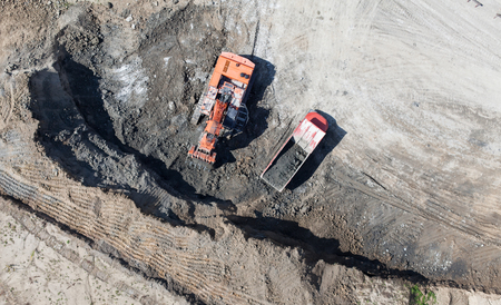 mover: Aerial view of the earth mover in the quarry in Poland