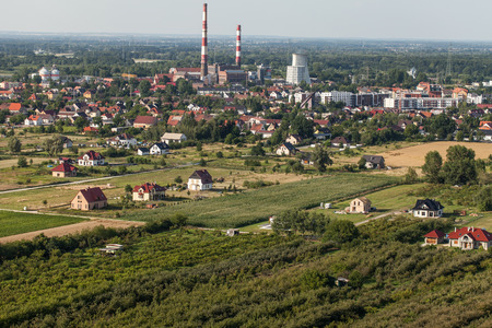 wroclaw: Aerial view of Wroclaw city suburbs in Poland.