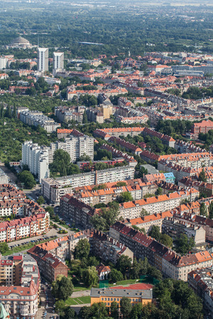 wroclaw: Aerial view of Wroclaw city in Poland.