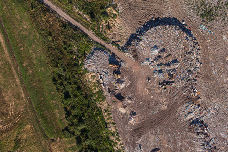 landfill: aerial view of the garbage landfill in Poland Stock Photo