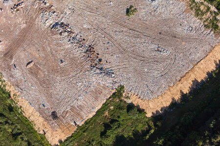wasteful: aerial view of the garbage landfill in Poland Stock Photo