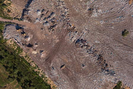 landfill site: aerial view of the garbage landfill in Poland Archivio Fotografico