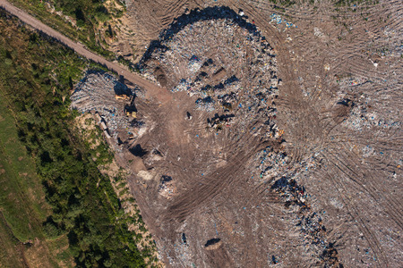 landfill site: aerial view of the garbage landfill in Poland Stock Photo