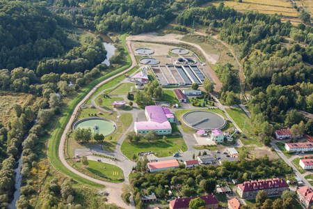 sewage treatment plant: aerial view of sewage treatment plant in Jelenia Gora city in Poland Stock Photo