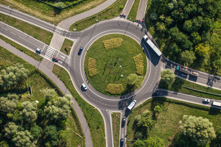aerial view of roundabout in wroclaw city Stok Fotoğraf