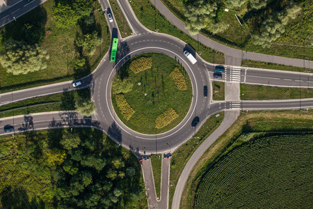 aerial view of roundabout in wroclaw city Archivio Fotografico