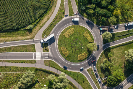 roundabout: aerial view of roundabout in wroclaw city Stock Photo