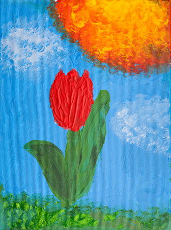 pained: oil pained canvas with flower