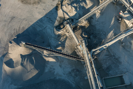 conveyor belts: aerial view of rock quarry in Poland