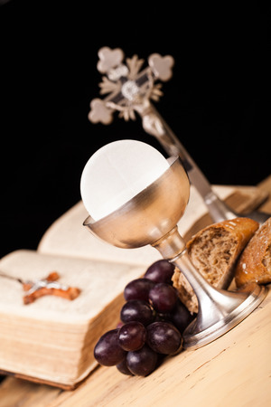 chaplain: holy communion on wooden table Stock Photo