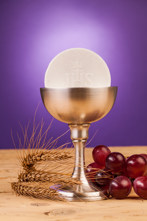 preach: holy communion  on wooden table