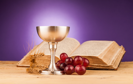 chaplain: holy communion  on wooden table