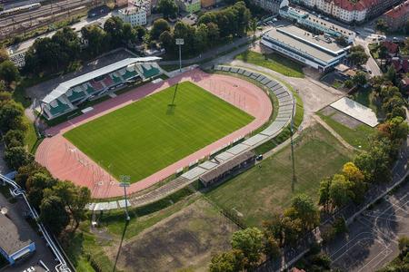 gora: aerial view of the sport arena in Jelenia Gora city Editorial
