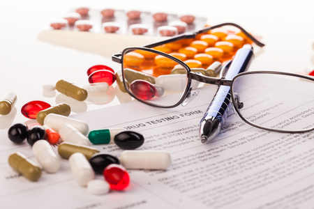 prescribed: drugs test composition on white background