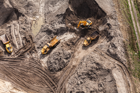 earth mover: Aerial view of the working earth mover in Poland Stock Photo