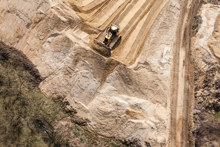 mover: Aerial view of the working earth mover in Poland Stock Photo