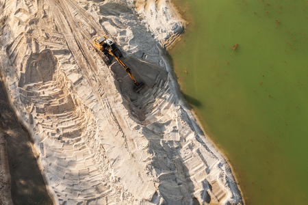 payload: Aerial view of the working earth mover in Poland Stock Photo