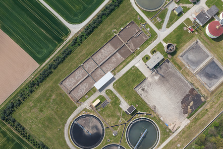 sewage treatment plant: aerial view of sewage treatment plant in Nysa city in Poland