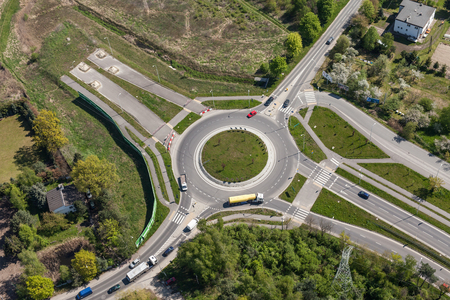 roundabout: aerial view of roundabout in the city in  the summer