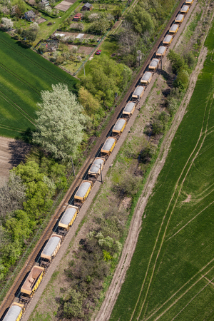 boxcar train: aerial view of the train on the railway track in Poland