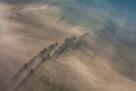 clowds: aerial view of the morning landscape in Poland Stock Photo