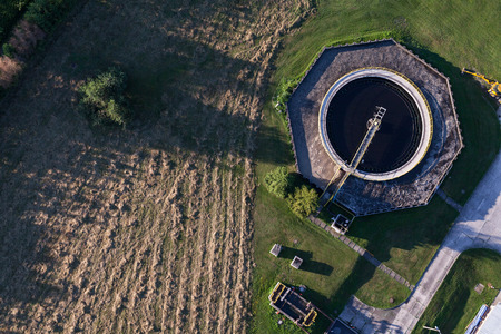 depuradoras: aerial view of sewage treatment plant in  Poland Foto de archivo