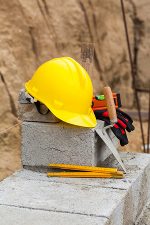 worker helmet on the construction site