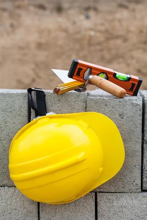 worker helmet on the construction site