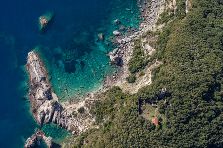 aerial view of the blue water coast line in Greece near Parga  town