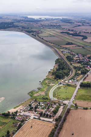 aerial view of the lake near Otmuchow town in Poland