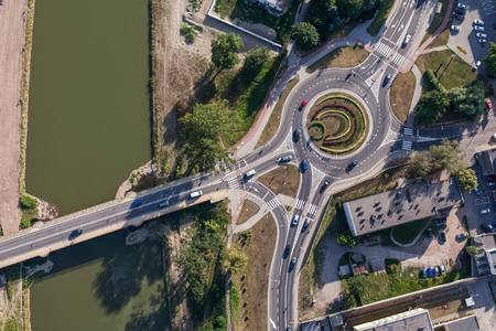 roundabout: aerial view of roundabout in Nysa city in Poland