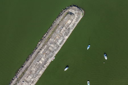 nesting: aerial view of the lake near Otmuchow town in Poland